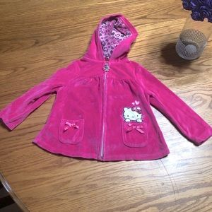 Hello Kitty pink velour zip up hoodie size24 mo